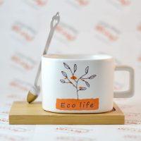 ست ماگ و زیر لیوانی مدل Eco life نارنجی