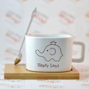 ست ماگ و زیر لیوانی مدل Happy Land با طرح فیل