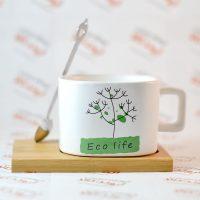 ست ماگ و زیر لیوانی مدل Eco life سبز