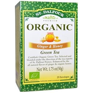 چای سبز ارگانیک St. Dalfour با طعم زنجبیل و عسل